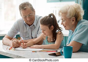 映像, 祖父母, 図画, 楽しみなさい, 孫