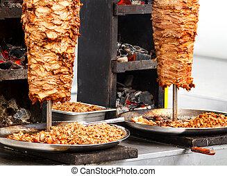 映像, 積み重ねられた, 肉, 焼けている, クローズアップ, shawarma