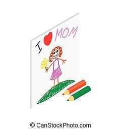 映像, 等大, 愛, お母さん, 子供, 図画, アイコン