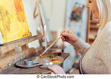 映像, 絵, クラス, 女性, 芸術家