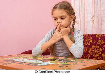 映像, 考え, パズル, いかに, 子供, 集まりなさい