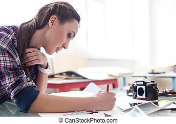 映像, 芸術家, 写真, 若い, 魅力的, 図画