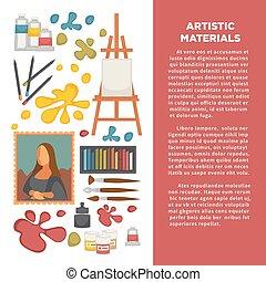 映像, 芸術, アイコン, ポスター, 芸術家, 創造的, paiting, ベクトル, 図画, 道具, 材料