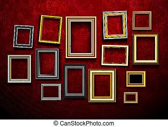 映像, 芸術, 写真フレーム, vector., gallery.picture, ph