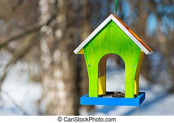 映像, feeders, 森林, 横, 鳥, handcrafted