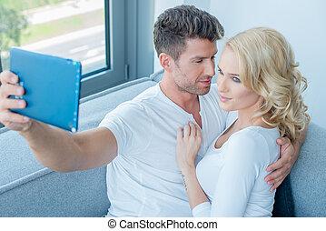 映像, selfie, 若い, 取得, 肖像画, 恋人