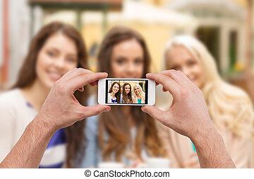 映像, smartphone, 取得, の上, 手, 終わり