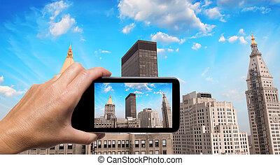 映像, smartphone, 取得, 手, スカイライン, ヨーク, 女性, 新しい