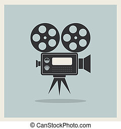 映画カメラ, ビデオ, レトロ, 背景