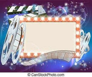 映画館, フィルム, 背景, 印
