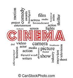 映画館, 単語, 雲, 概念, 中に, ネオンライト