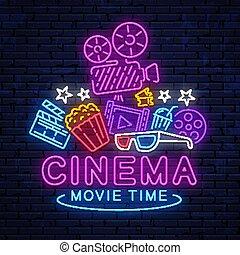映画館, 印。, ネオン, 夜