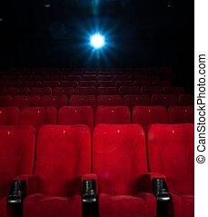 映画館, 快適である, 空, 数, 席, 赤