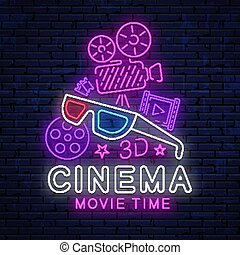 映画館, 明るい, ネオン, 印。