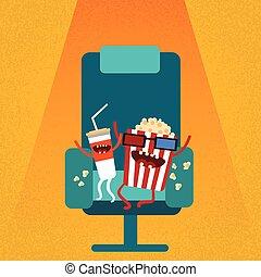 映画館, 映画, 席, ポップコーン, 椅子, 漫画, フィルム, コーラ