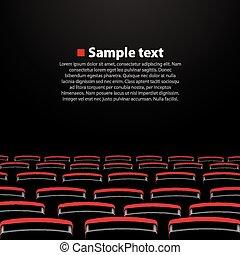 映画館, 講堂, ベクトル, seats.
