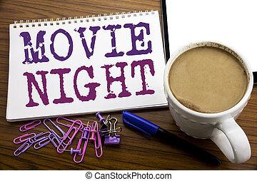 映画, それ, メッセージ, テキスト, 背景, 夜, ポップコーン