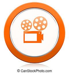 映画, オレンジ, アイコン, 映画館, 印