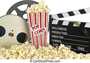 映画, クラッパー 板, 中に, ポップコーン