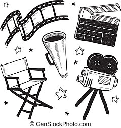 映画, スケッチ, セット, 装置