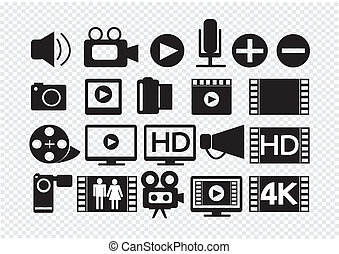 映画, マルチメディア, ビデオ, アイコン