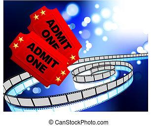 映画, 切符, フィルム, 背景, 巻き枠, インターネット