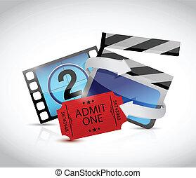 映画 切符, 概念, デザイン, イラスト