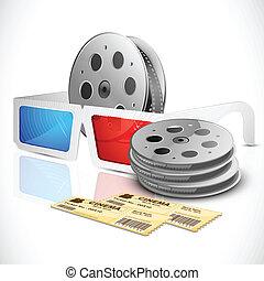 映画 切符, 3d, 巻き枠, フィルム, ガラス