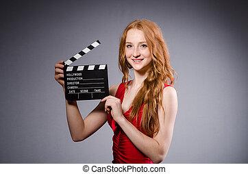 映画, 女, 服, 板, 赤