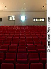 映画, 座席, 劇場, 空