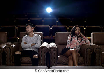 映画, 恋人, 劇場, 戦い, interracial