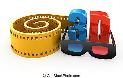 映画, 白, 概念, 隔離された, 3d