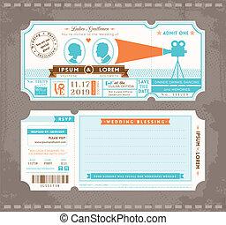 映画, 結婚式, デザイン, テンプレート, 招待, 切符