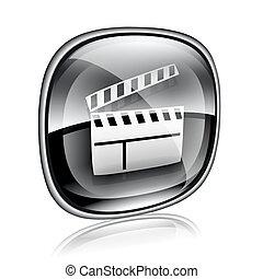 映画, 隔離された, バックグラウンド。, 黒, ガラス, 白, カチンコ, アイコン