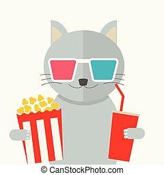 映画, concept., ねこ, 映画館, 監視