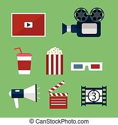 映画, set., ビデオ, アイコン