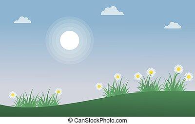 春の花, 丘, 風景