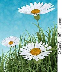 春の花, 中に, 草, 上に, 青い空