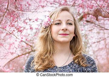 春の花, 女, 若い, 肖像画