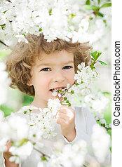 春の花, 幸せ, 子供