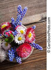 春の花, 新たに, つぼ