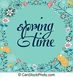 春の花, 時間, 背景, 型