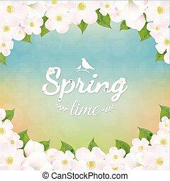 春の花, 木, アップル, ポスター