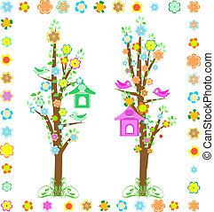 春の花, 木, 鳥, birdhouse