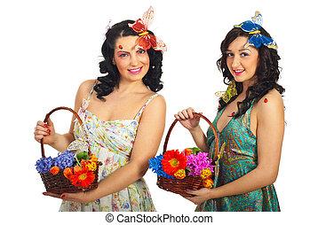 春の花, 2人の女性たち