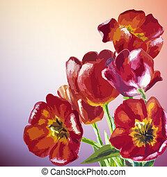 春の花, tulips., 招待