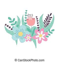 春天, 图标, 季节, 装饰, 性质, 花