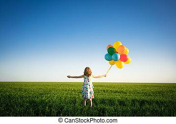 春天, 在户外, 领域, 孩子玩, 开心