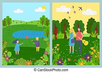 春天, 夏天, 見解, 風景, 人們