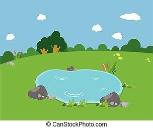 春天, 池塘